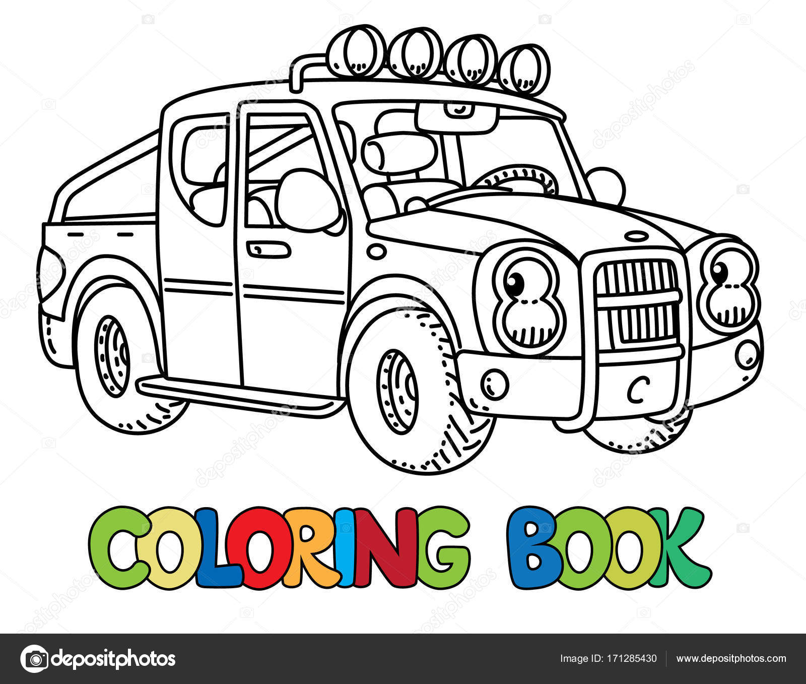 Funny small pickup truck with eyes. Coloring book — Stock Vector ...