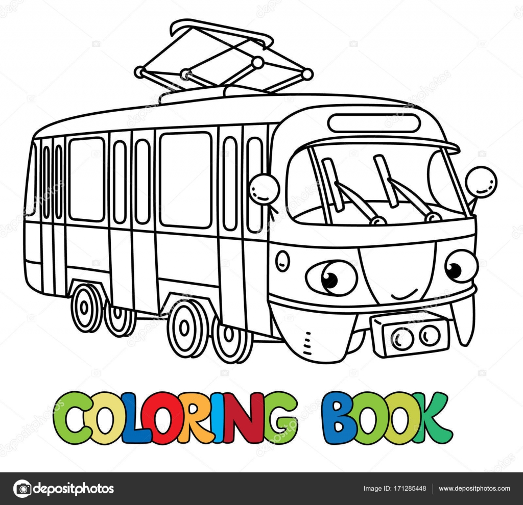 Komik Küçük Tramvay Gözleri Olan Boyama Kitabı Stok Vektör