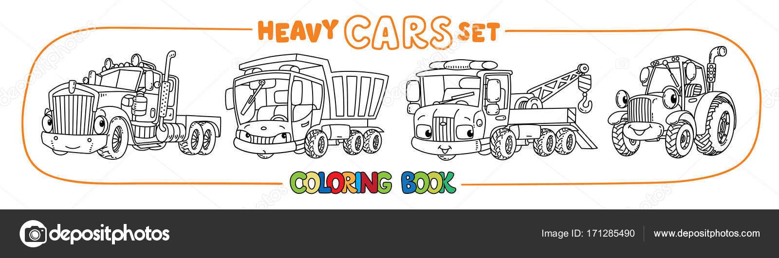 Divertidos coches pesados con los ojos. Conjunto de libro para ...