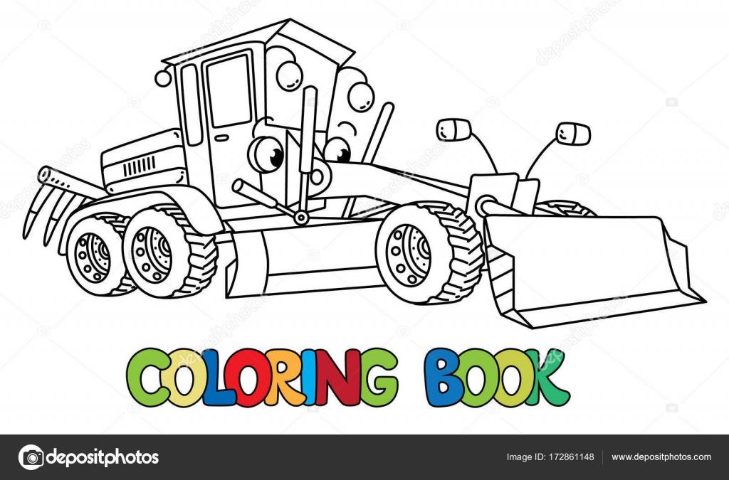 Komik Küçük Sınıf öğrencisi Araba Gözleri Olan Boyama Kitabı Stok