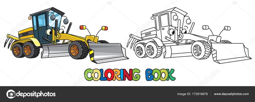Coche divertido grado con ojos. Libro para colorear — Vector de ...