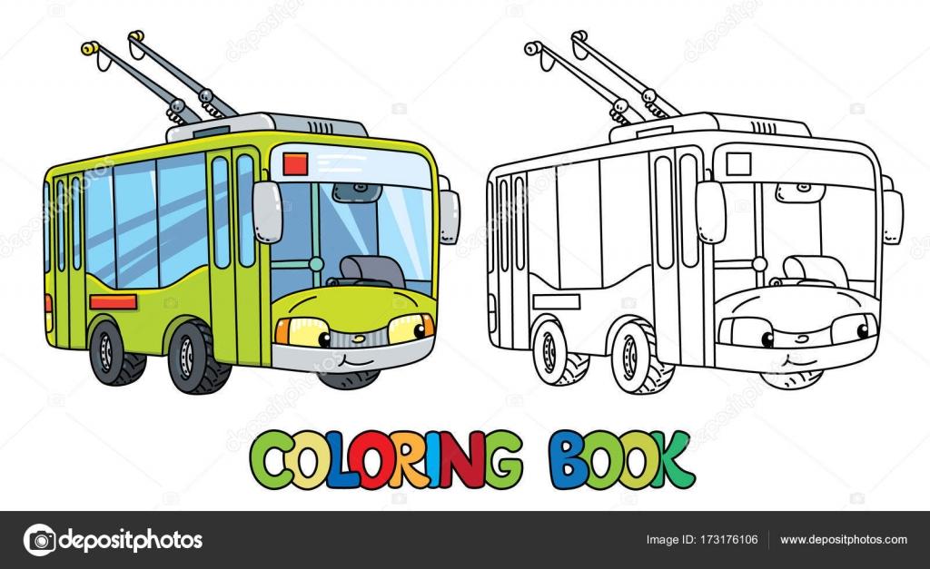 目と小さなトロリーバスを面白い塗り絵 ストックベクター