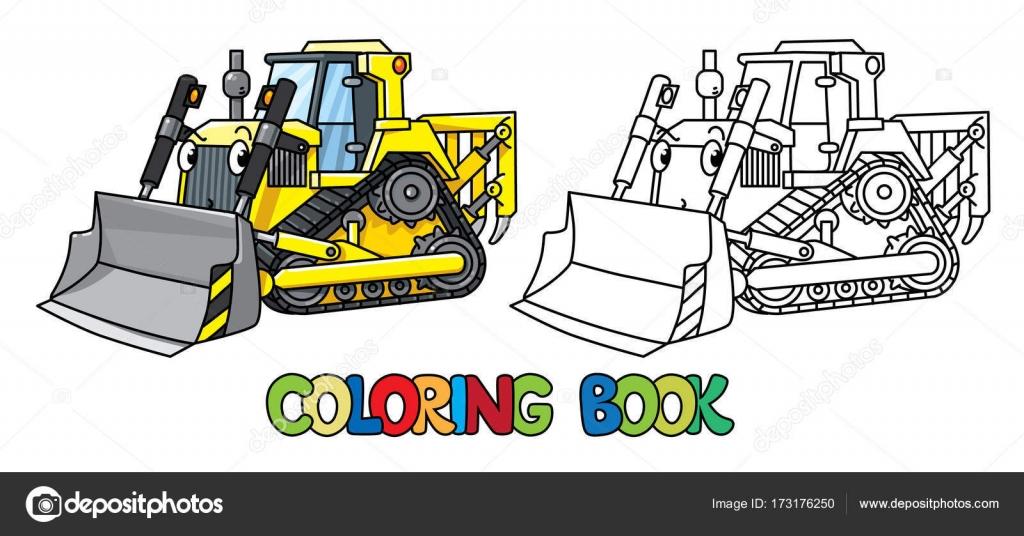 Divertido bulldozer pequeño con los ojos. Libro para colorear ...