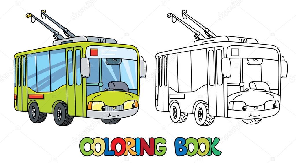 Детская раскраска троллейбус. Забавный маленький ...
