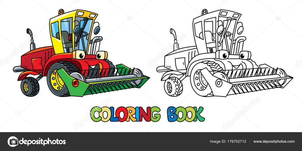 Combine or lawn mower with eyes coloring book — Stock Vector ...