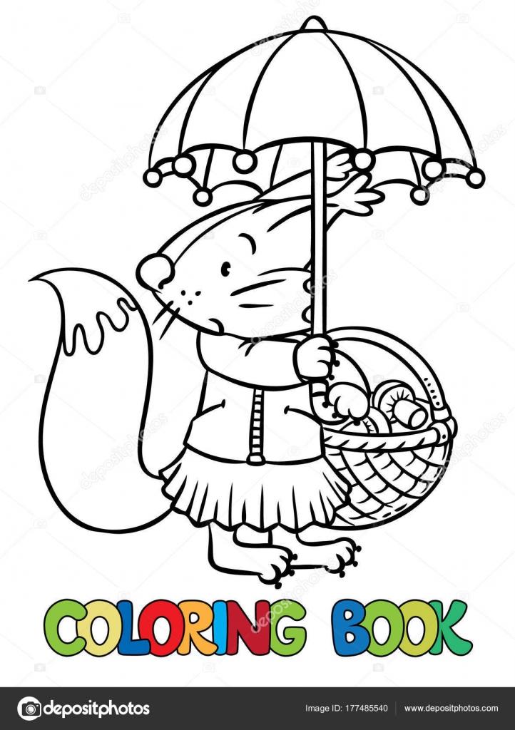 Pequeña ardilla graciosa con paraguas. Libro para colorear — Archivo ...