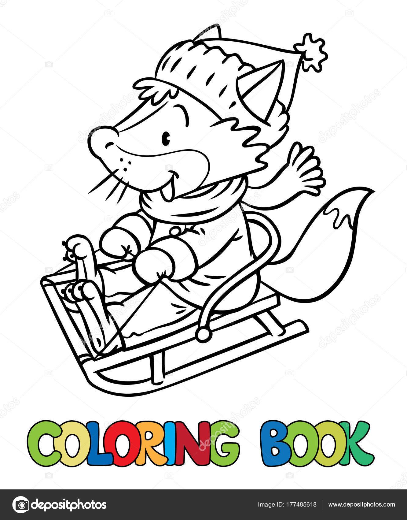 Fox divertido paseos en trineo o patín. Libro para colorear — Vector ...