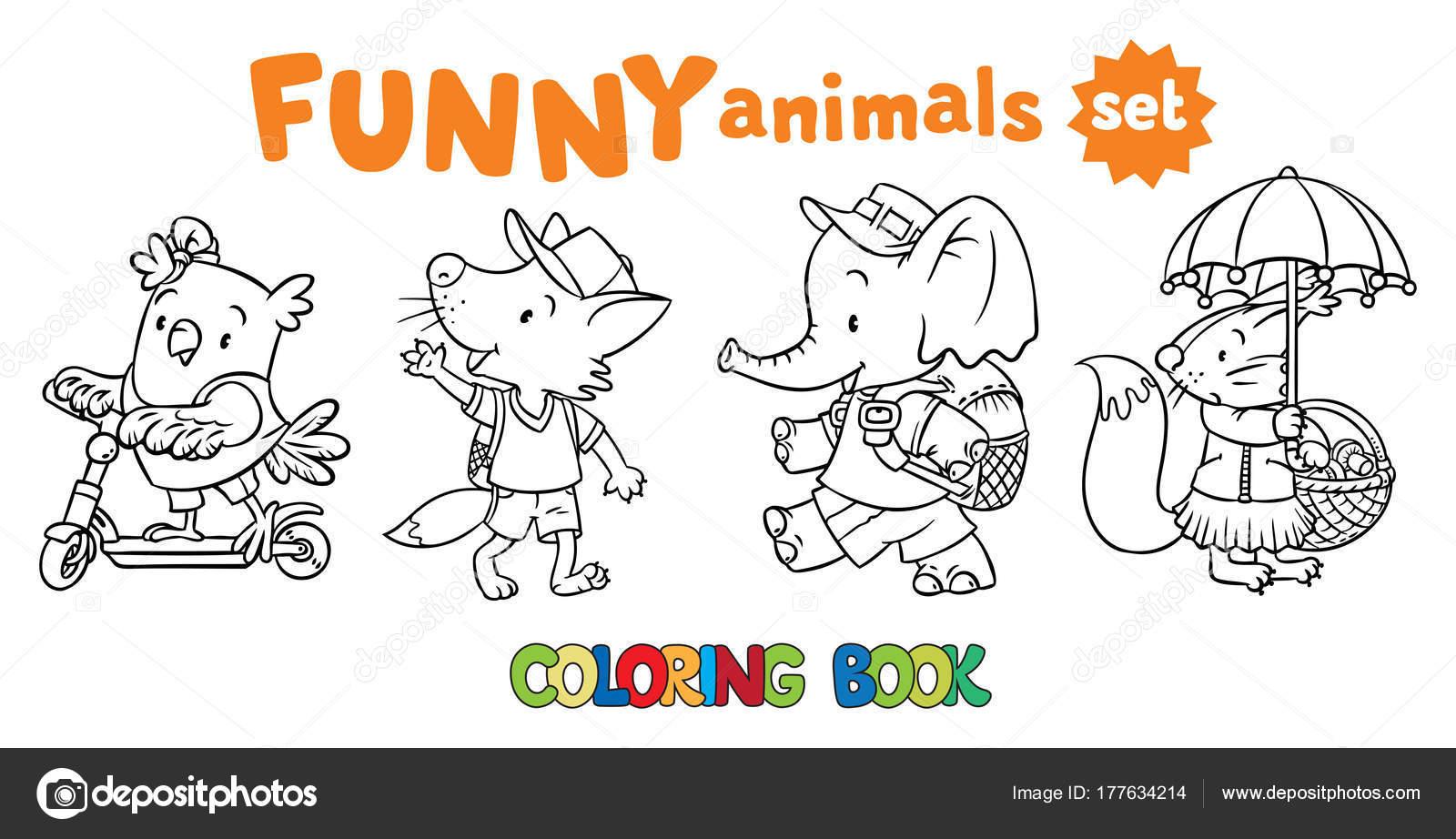 Colorear libro conjunto de animales de bebé divertido — Vector de ...