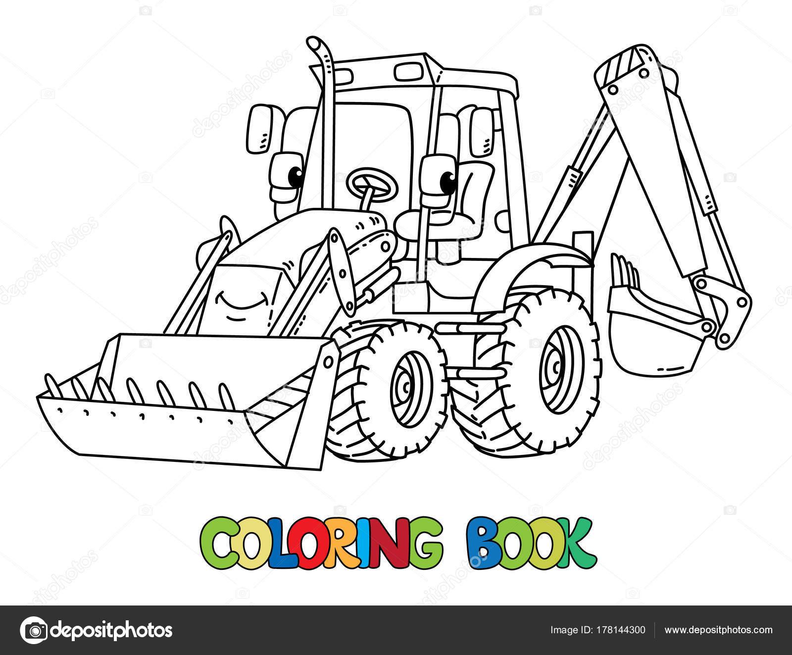 Komik Inşaat Traktör Gözleri Olan Boyama Kitabı Stok Vektör