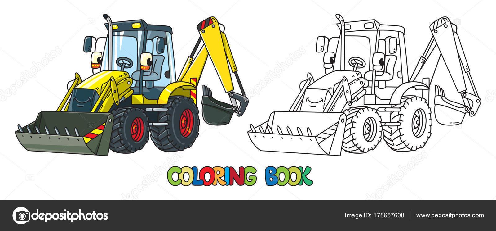 Tractor de construcción divertido con los ojos. Libro para colorear ...