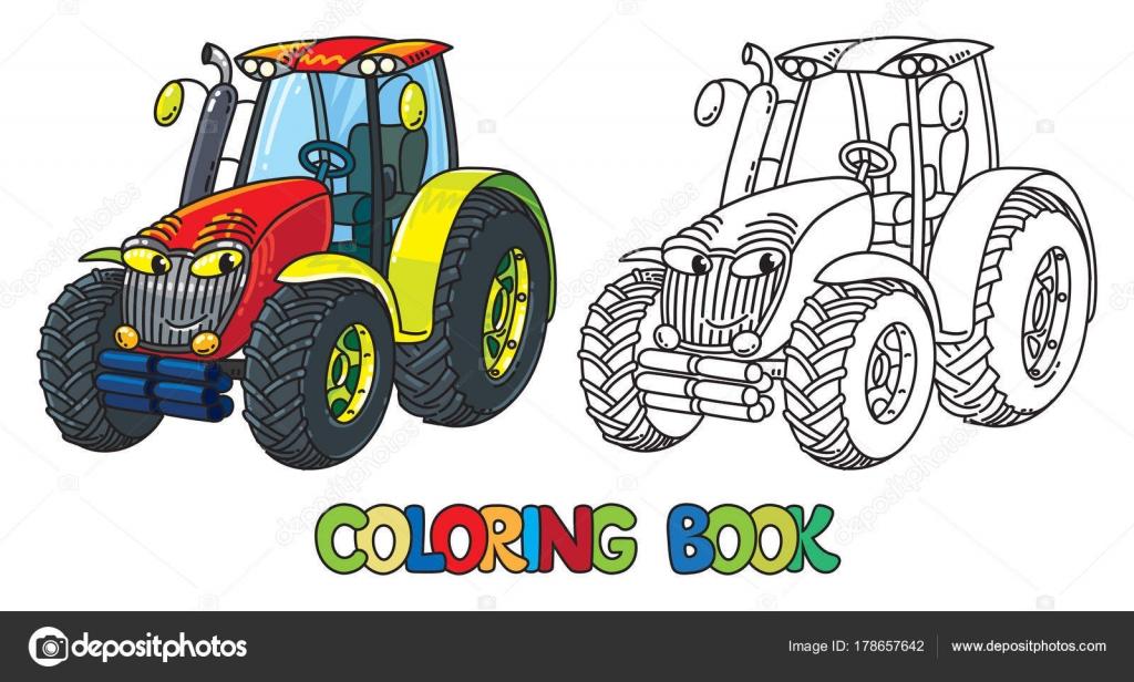 Divertido tractor pequeño con los ojos. Libro para colorear — Vector ...