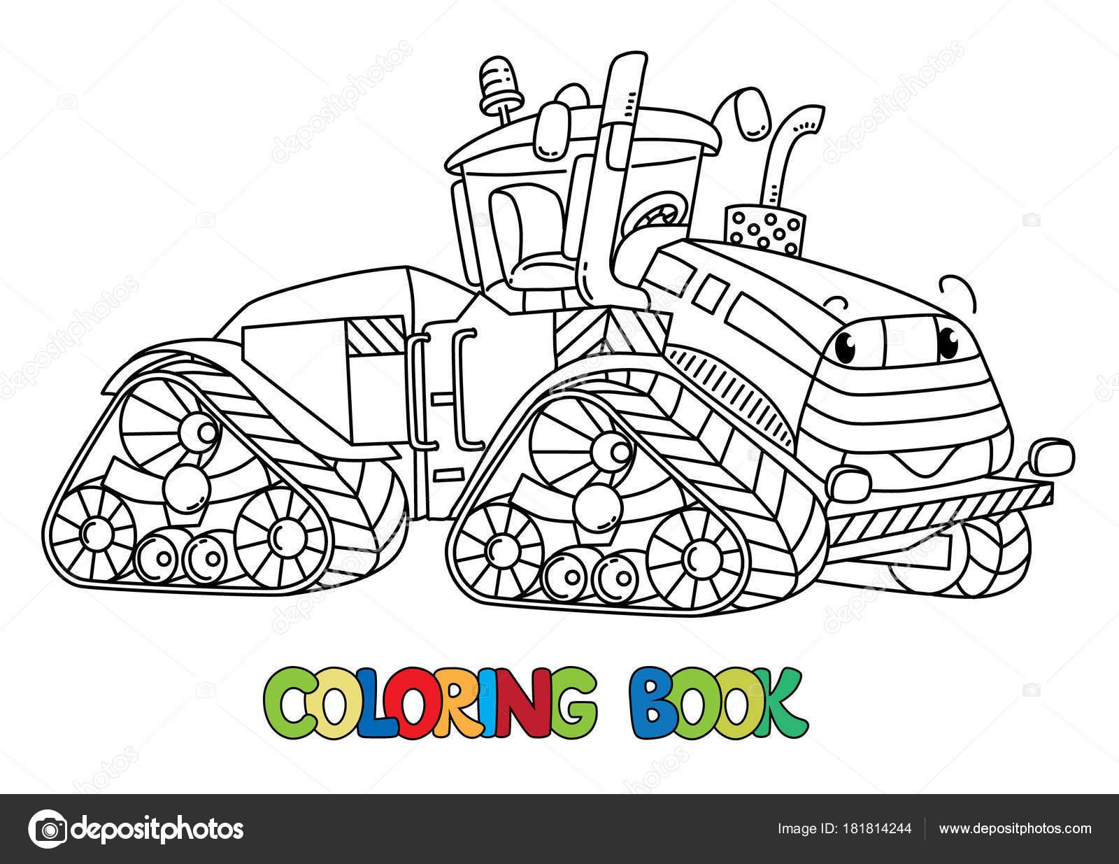 Tractor grande divertido con los ojos. Libro para colorear — Archivo ...