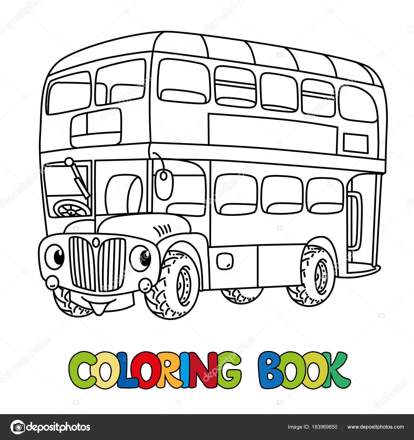 目に変な小さいロンドン バス塗り絵 ストックベクター Passengerz