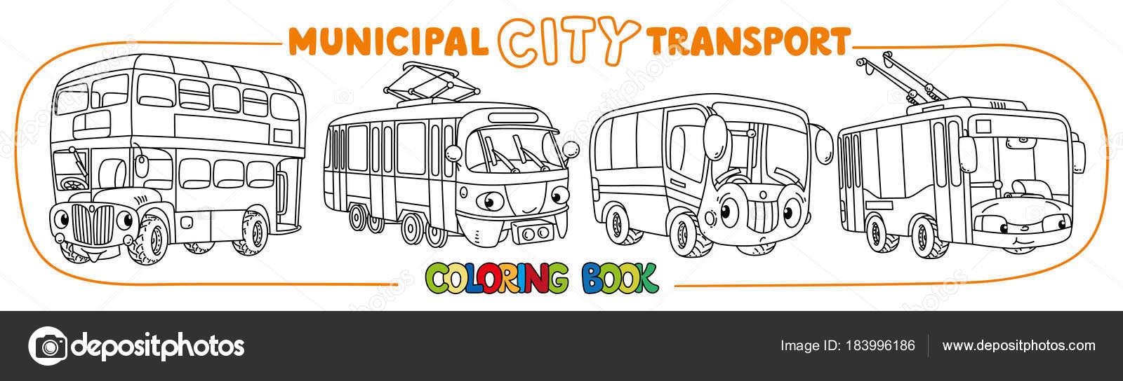 Transporte de ciudad pequeña graciosa con los ojos para colorear ...