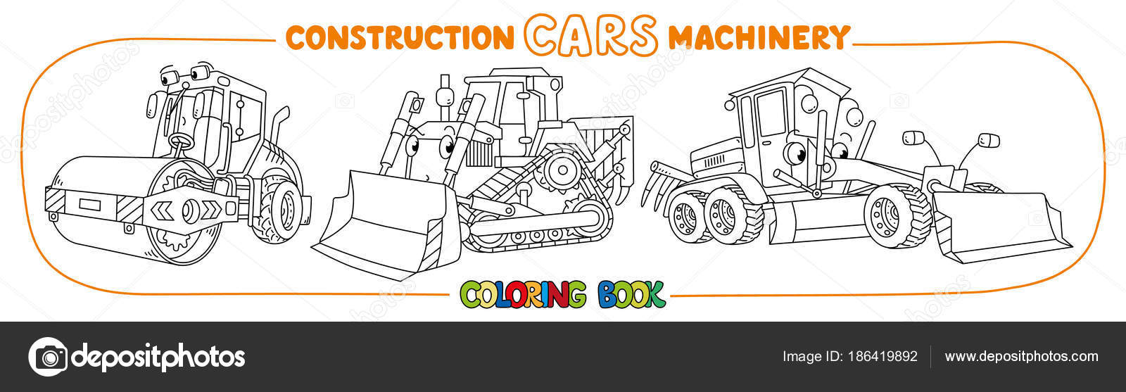 Construction machinery transport coloring book — Stock Vector ...