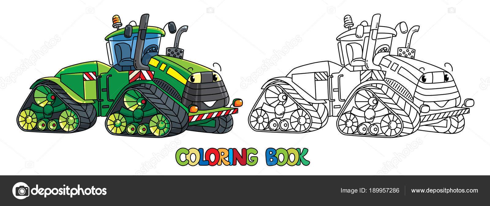 Zabawny Duży Traktor Z Oczu Kolorowanka Grafika Wektorowa