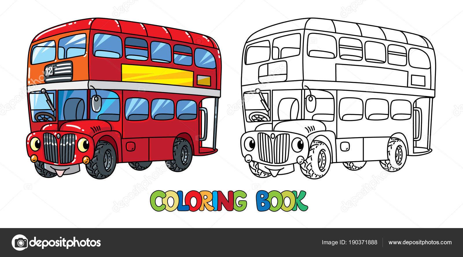 Komik Küçük Londra Otobüs Gözleri Olan Boyama Kitabı Stok Vektör