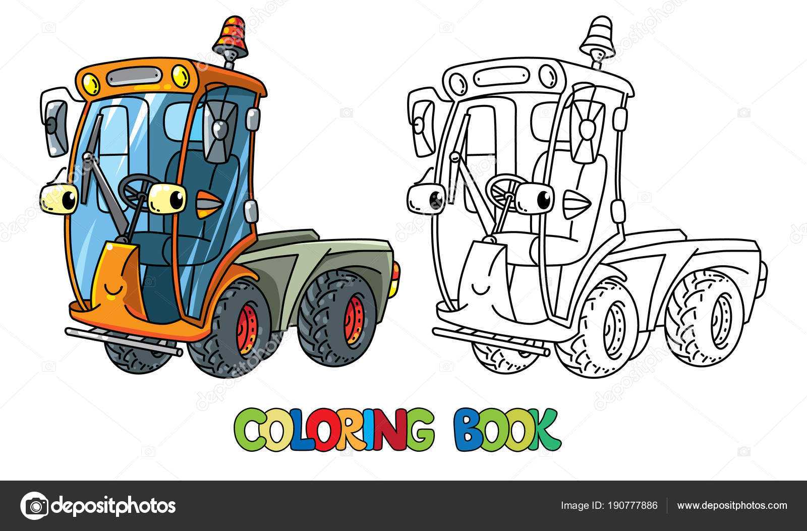 Funny Small Sweeper Car With Eyes Coloring Book Stock Vector
