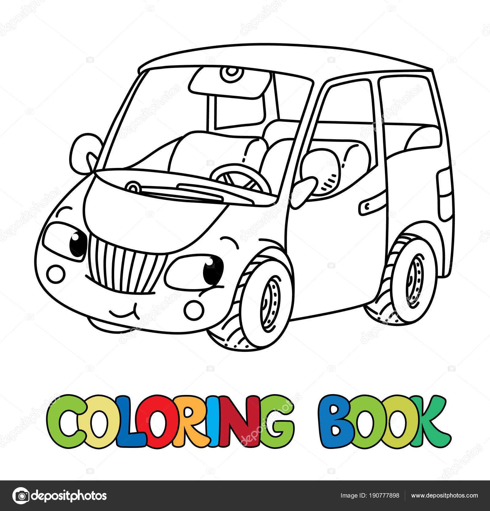 Komik Küçük Araba Gözleri Olan Boyama Kitabı Stok Vektör