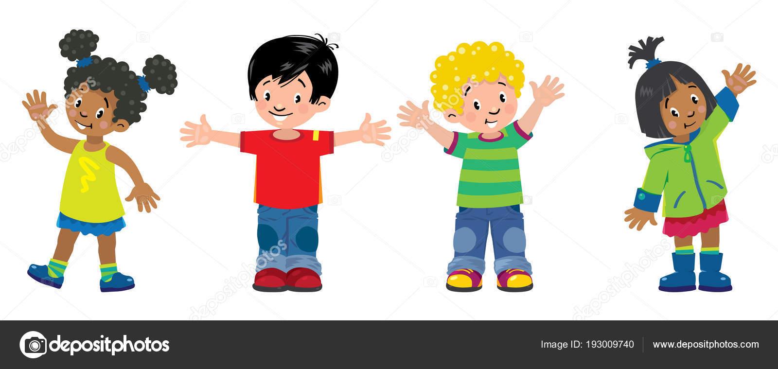 子供たち4 人の子供男の子と女の子の笑顔のセット ストック