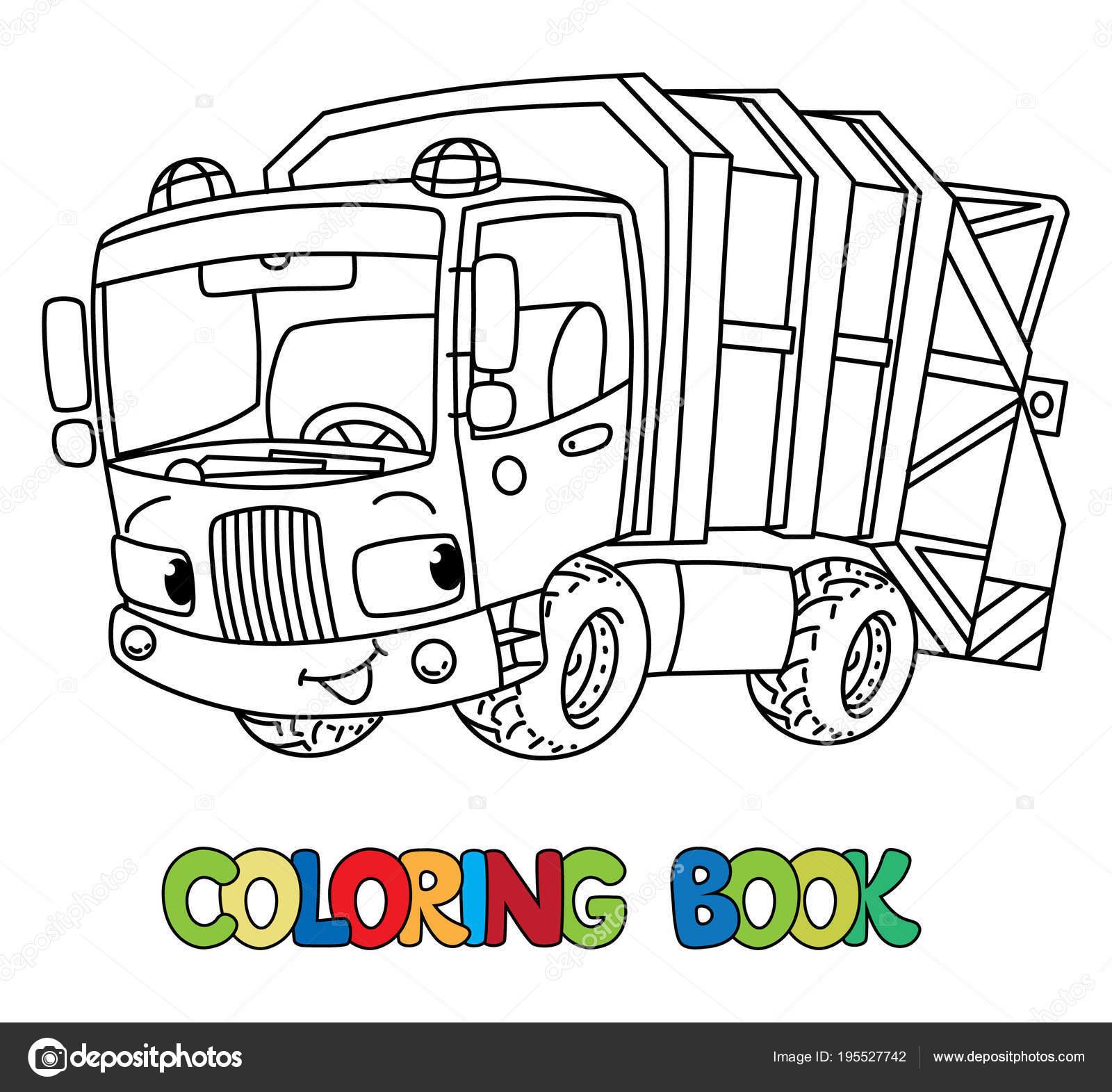 смешные мусоровоз автомобиль с глазами книжка раскраска