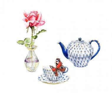 Teapot, teacup, rose and butterfly. Menu design.