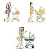 Pregnant woman with a carriage. Watercolor hand drawn illustration.