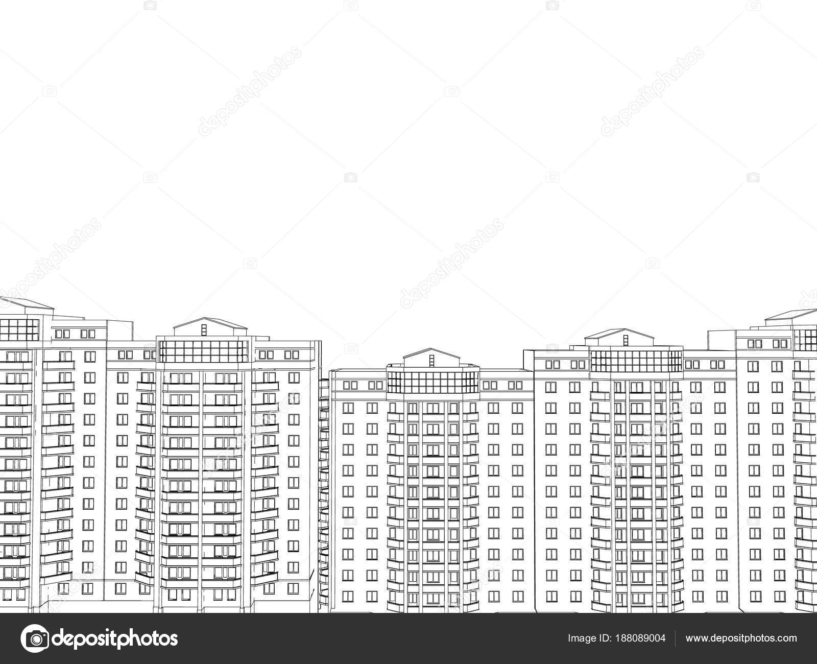 background with the outlines of multi storey buildings stock