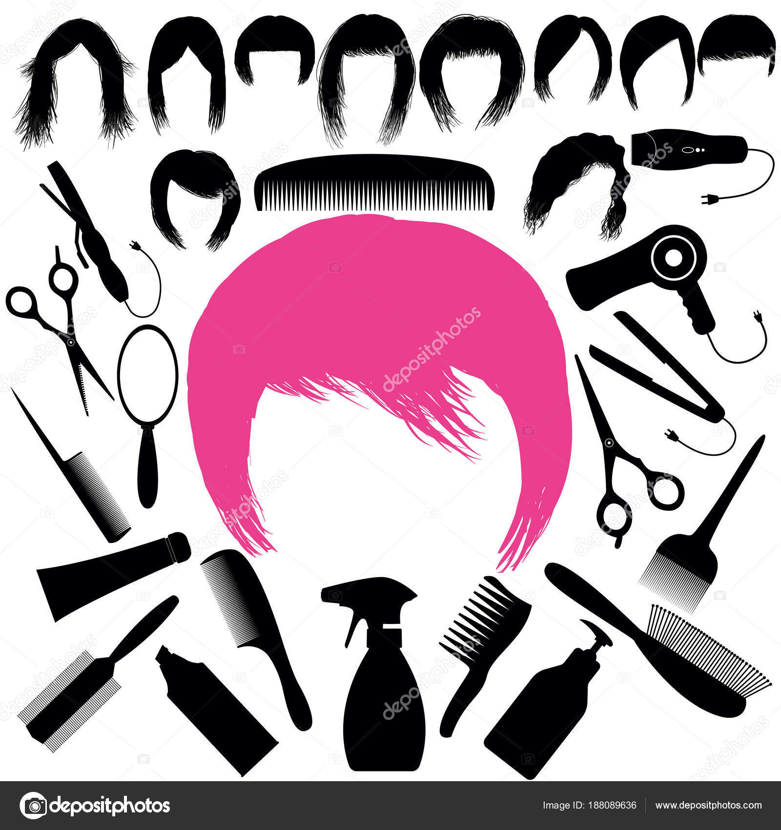 Set with silhouettes of hairstyles and barber tools — Stock Vector ...