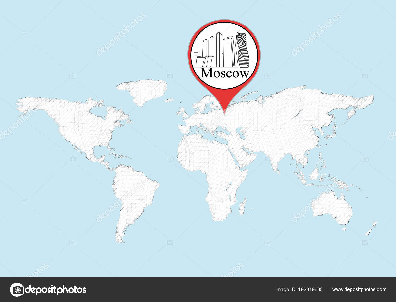 Moscow on the world map — Stock Vector © Slim3D1 #192819638