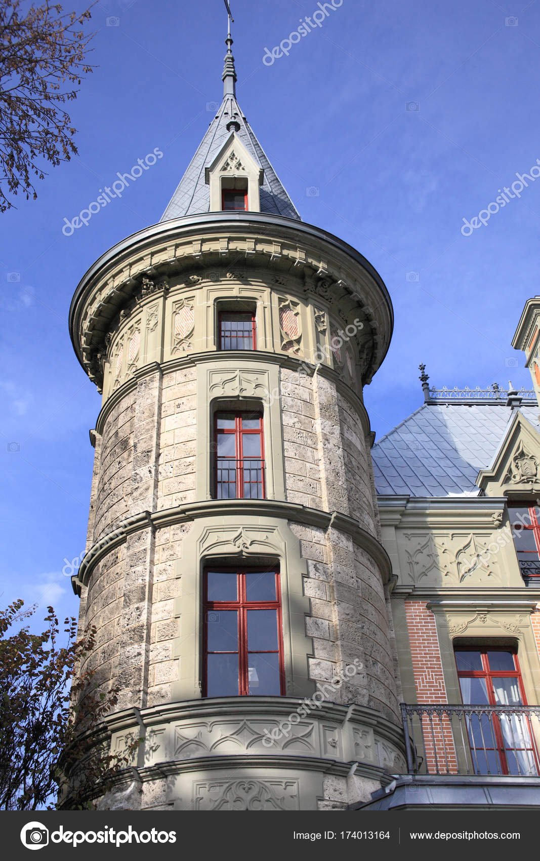 Traditional Swiss Castle Interlaken Switzerland Stock Photo