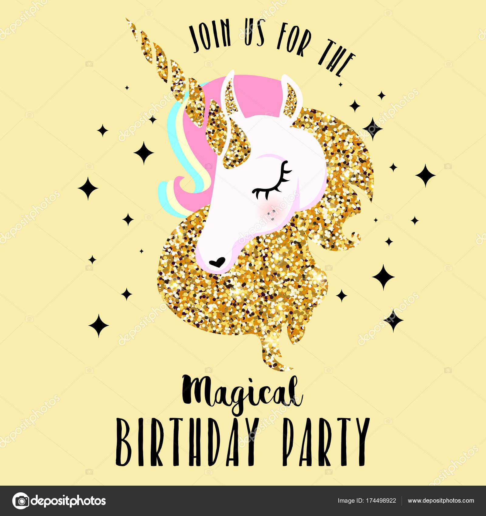 Zaproszenie Urodziny Party Jednorożcem Ilustracji Wektorowych