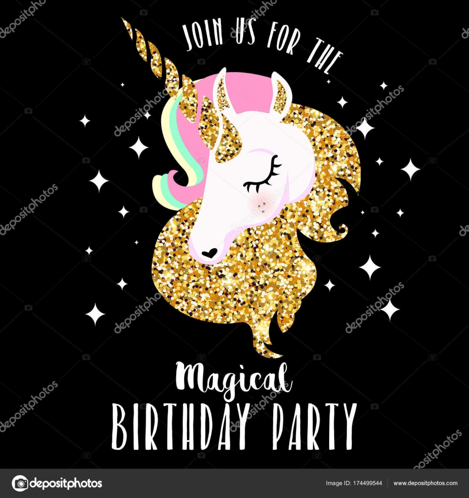 Birthday party invitation unicorn vector illustration stock vector birthday party invitation unicorn vector illustration stock vector stopboris Images