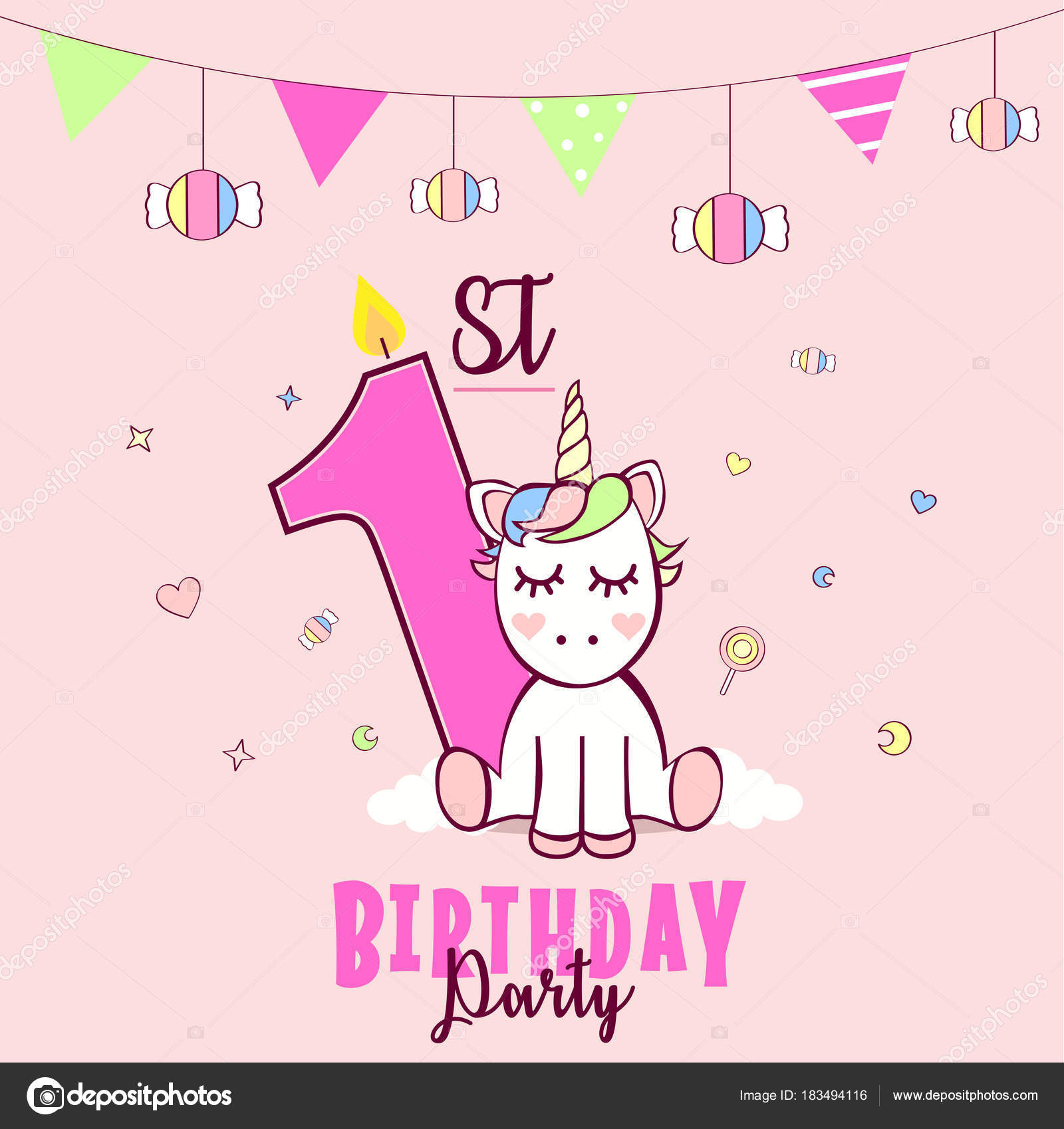 Birthday party invitation unicorn candies pink background vector birthday party invitation unicorn candies pink background vector illustration stock vector stopboris Gallery