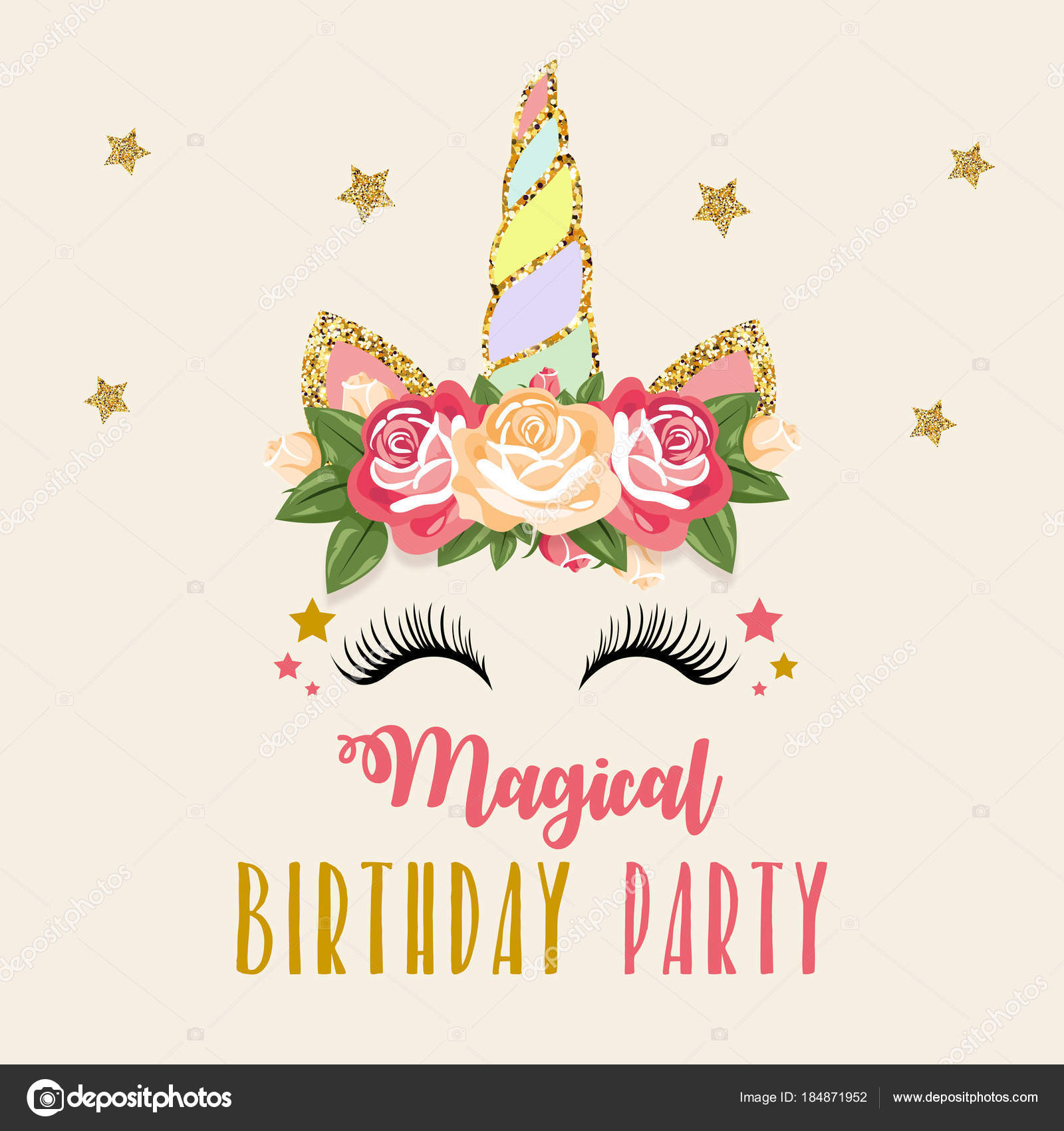 colorful card words magical birthday party unicorn roses head beige