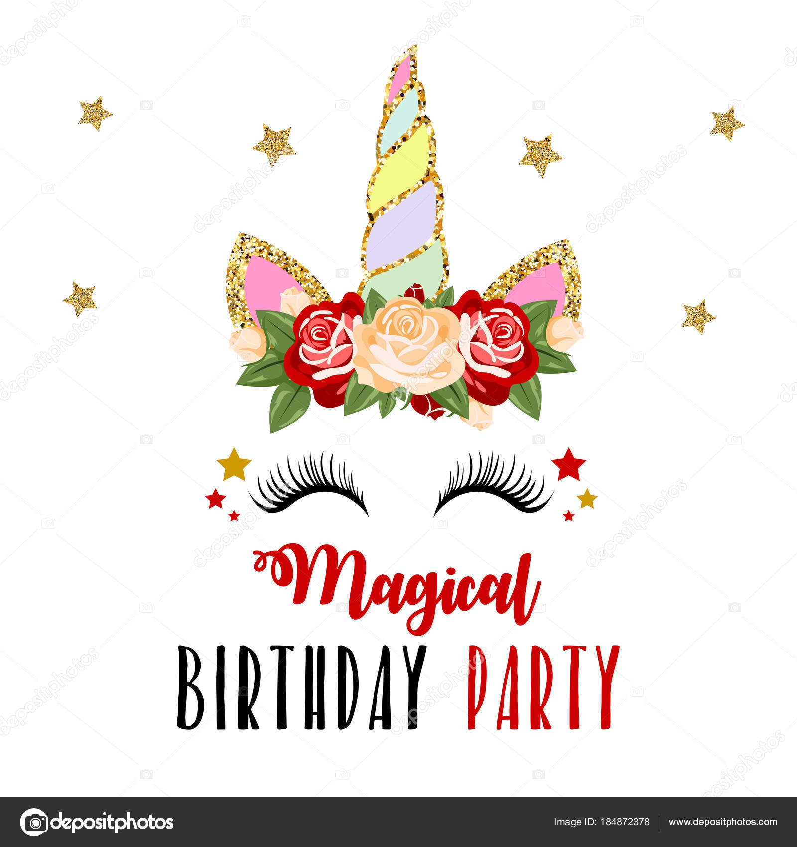 colorful card words magical birthday party unicorn flowers head