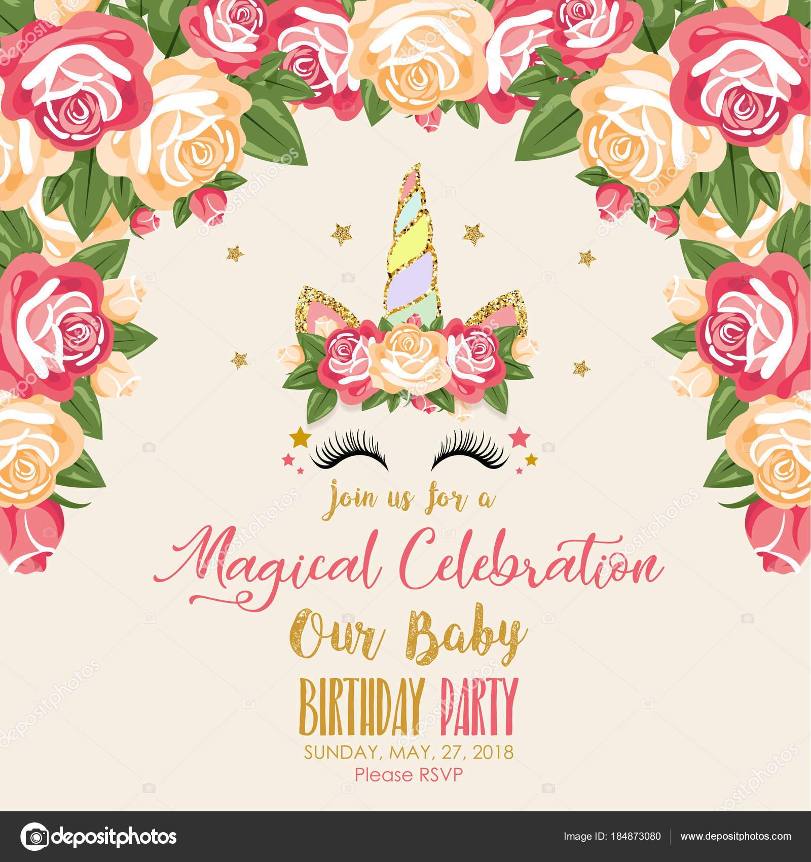 Tarjeta Colorida Con Palabras Mágica Celebración Unicornio Rosas ...