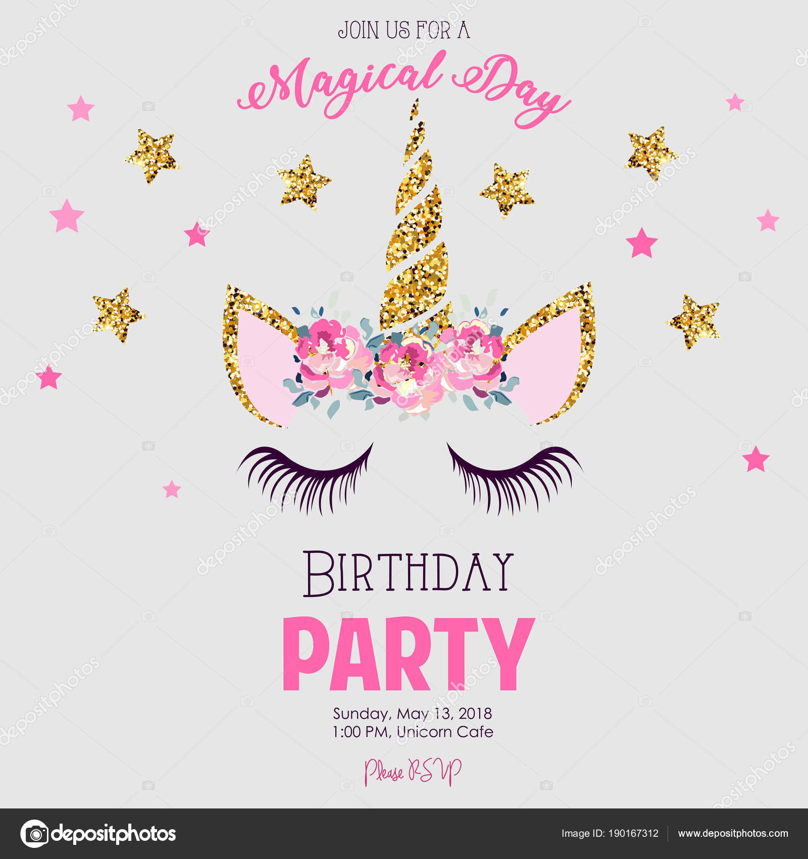 Birthday Party Invitation Unicorn — Stock Vector © ElenaBaryshkina ...