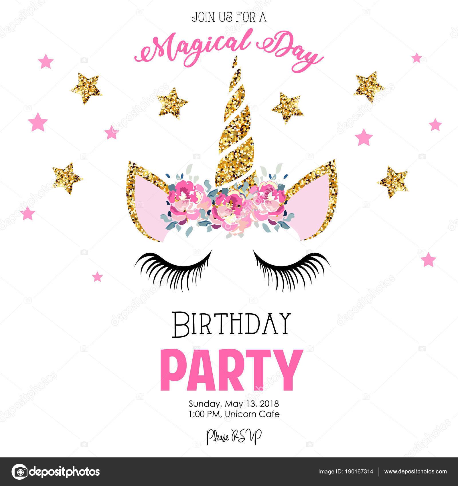 Zaproszenie Urodziny Party Jednorożcem Grafika Wektorowa
