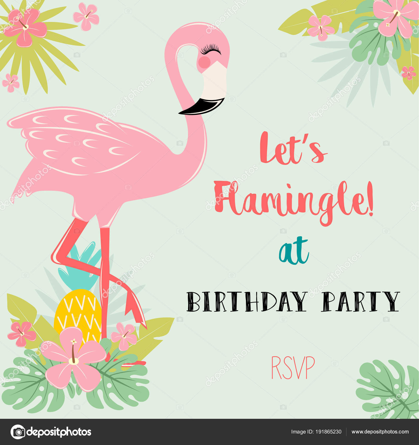 Flamingo Birthday Party Invitation Card — Stock Vector ...