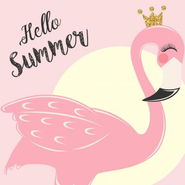 Pink flamingo with cute lashes and crown