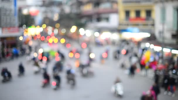 defocused night traffic light, Moving bokeh circles of night traffic.Hanoi -vietNam