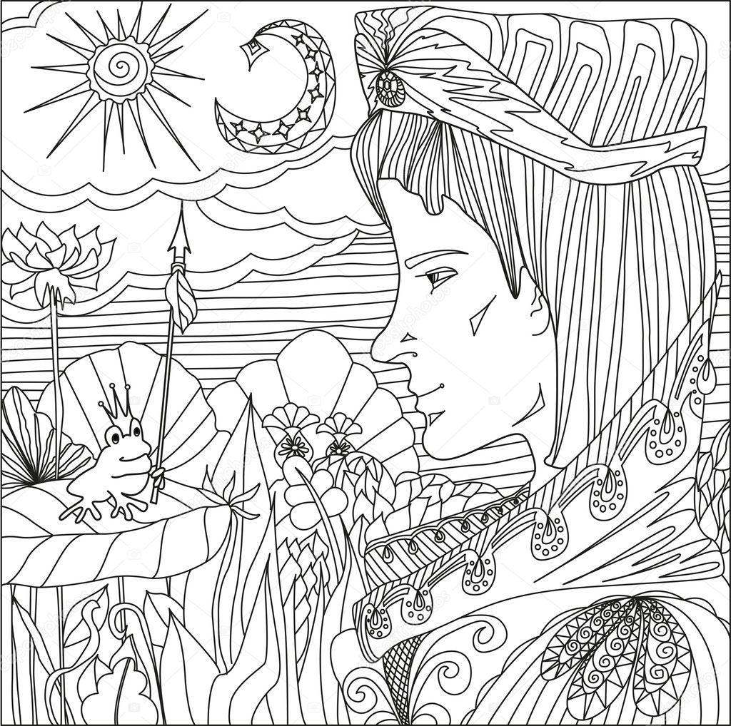 Arte terapia con ilustración del príncipe y la rana princesa con ...