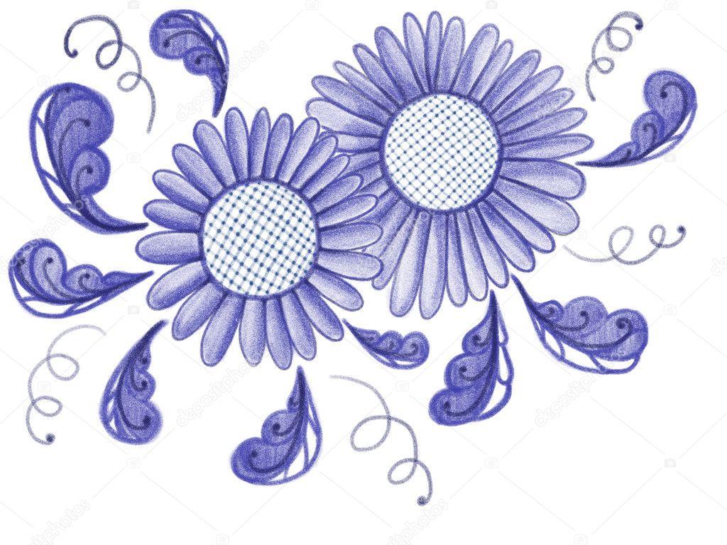 Fiori blu disegnati in stile popolare ornamento antico for Fiori disegnati