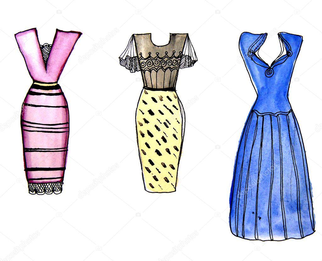 Bunte Cocktailkleider, gezeichnet von Aquarell — Stockfoto ...