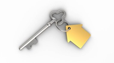 House keys isolated on white background. Concept illustration of a dream house. 3D-rendering.