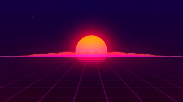 Retro background loop animation. 80s style. Futuristic retro horizon landscape with sun and neon light grid. 3D-rendering.