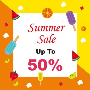 Awesome Summer sale discount price. Design for web, ads, banner, poster, card, tag and label. Vector holiday Abstract colorful illustration.