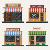 Fotografie Set of shops. Butchery, candy store, farm products, pizza cafe, coffee, barbershop. Flat vector illustration.