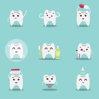 Set of cute cartoon teeth with brush and clean, great for health dental care concept